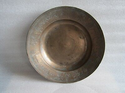 RARE Antique Middle Eastern Islamic Handmade Hammered Engraved Copper Bowl 2