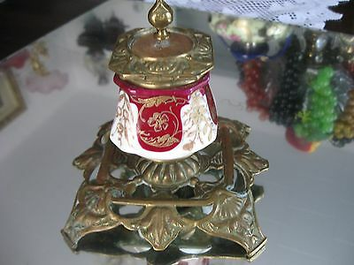 Rare Antique 1800'S  French   Gilt Porcelain  Bronze Ink Well 8