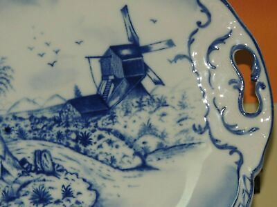 "Hand Painted 10"" Plate w/ Handles Delft? Blue & White Windmill Antique Vintage 5"