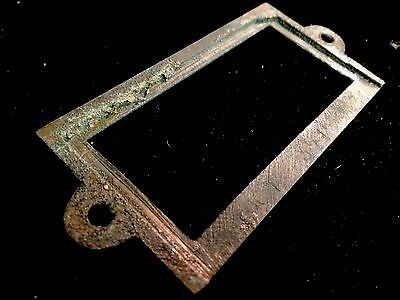 Antique Heavy brass name plaques , apothecary Draw Dresser Handle Knocker Bronze 3