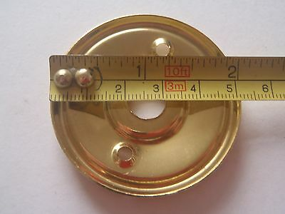 A RE-PLACEMENT BRASS DOOR KNOB BACK PLATE / ROSE 52 mm DIAMETER RIM LOCK ETC. 4