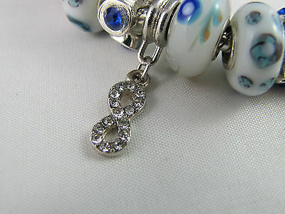 """SWEET 925 STAMPED SILVER 20cm EUROPEAN STYLE CHARM BRACELET """" MERRY PLAYGROUND """" 9"""