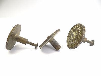 Antique Lot Old Grey & Gold Metal Dresser Cabinet Hardware Pulls Knobs Parts 5