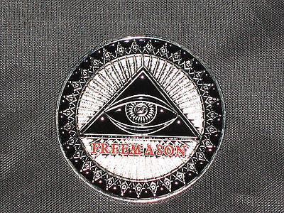 MASONIC CHALLENGE COIN Square Compass Freemason Eye Case Fraternity NEW!