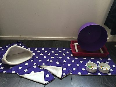 Double Trouble Deluxe hedgehog Starter Set,wheel,tray,bowls,bed,liner, Tunnels. 7