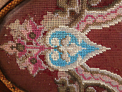 Antique Wooden Center Piece with Veneer Inlay Glass and Embroidery Bead Design 4 • CAD $242.45