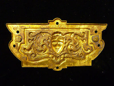 Set Of Six Victorian Brass Drawer Pulls With Human Mask Faces - Circa 1880 5
