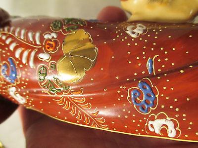 Japanese antique geshia girl kutani figurine art vtg fu dog statue imari pottery 7