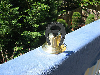 Vintage Brass Dinner/Farm Bell With Horseshoe Mount~Made In Japan 2