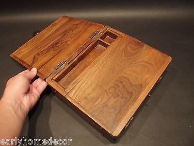 Antique Vintage Style Folding Document Writing Slope Lap Desk Campaign Box 11