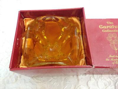 Vintage Bohemian Art Glass Hand Cut Czech Heavy Decor Bowl With Box 8