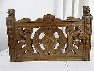 """14"" Antique French Oak Wood Carved Pediment Panel Ornament - Lions 5"