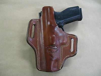Sig Sauer P 227 .45 OWB Leather 2 Slot Molded Pancake Belt Holster CCW TAN RH