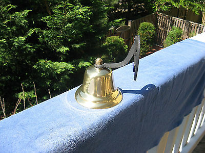 Vintage Brass Dinner/Farm Bell With Horseshoe Mount~Made In Japan 3