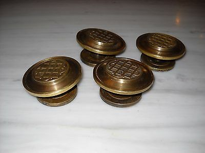 A lot of 4 Greece Vintage rare Solid Brass Door Knobs Handles 2