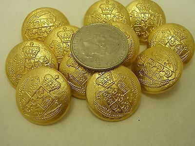 """New Military Metal Royal Crest Gold Finish Buttons size 1/'/' 7//8 13//16 5//8/"""" G14"""