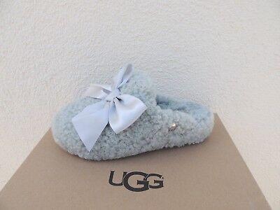 053d2354a5b UGG ADDISON GREY Violet Curly Sheepskin Silky Bow Slippers, Us 6/ Eur 37  ~Nib