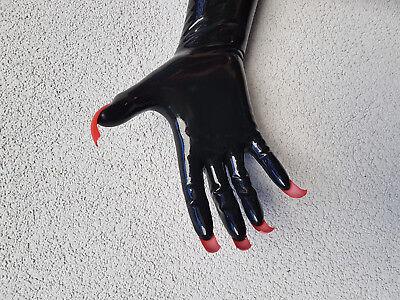 Latex Handschuhe schwarz mit roten extremo Krallen Sonderanfertigung x-large 2