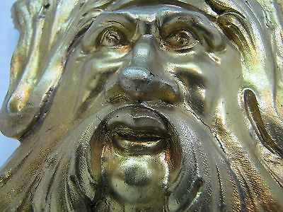Exquisite 19c Antique Brass Figural Face Ornate High Relief Scary Architectural 4