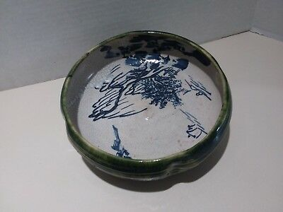 Antique Vintage Japanese Hand Glazed Pottery Bowl Hand Made - Hand Painted 2