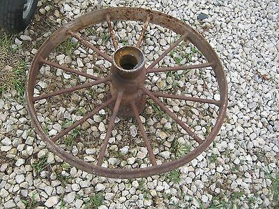 "Vintage Rustic Iron Farm Implement Wheel Farm decor 28"" diameter 3"" thick 5"