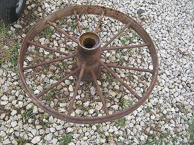 "Vintage Rustic Iron Farm Implement Wheel Farm decor 28"" diameter 3"" thick 5"