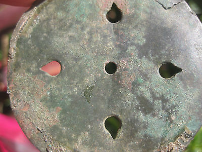Ancient perforated Islamic bronze pendant-mirror with 5 holes, c.1000-1100 AD 7