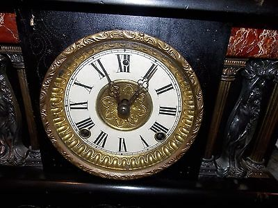 Very Rare Antique time and strike adamantine mantel clock Greek Women On Front!