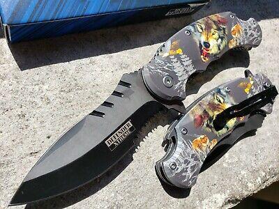 Tactical Print Handle Spring Pocket Knife Folding Tactical Open Serrate Blade 7
