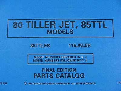 1994 OMC JOHNSON Evinrude 80 Jet 85 Ttl Hp Outboard Motor Parts Catalog  436451