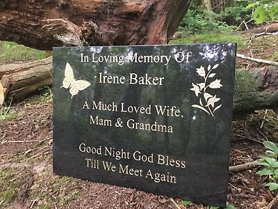 Memorial Grave Plaque Stone Engraved  Headstone Large  Black Granite 40x30cm 2