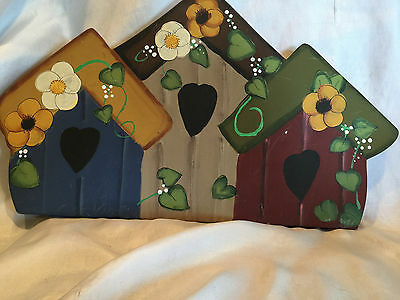 Wooden Yard Folk Art Lawn Or Patio Decorations Bird Houses And  A Holiday Angel