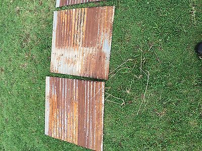 "2 pieces of Vintage Metal CORRUGATED TIN 26"" x 24"" 3"