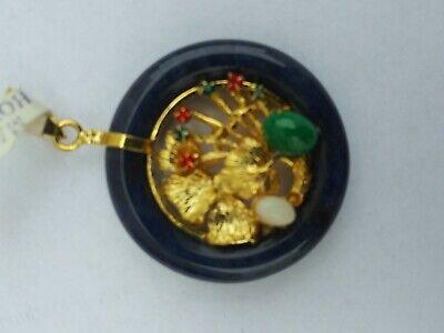 China  Jade with Various gemstones Pendant pair 玉坠 2