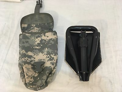 MINT US Army Military AMES Entrenching Folding E-Tool Shovel & Used ACU Cover 3