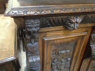 Carved Victorian Oak Library Bookcase Angel Dresser GreenMan LionsHead PussyOak1 8