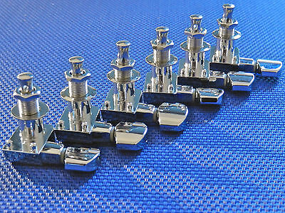 6 Fender Logo Stratocaster / Telecaster TUNERS TUNING PEGS Guitar Chrome 4