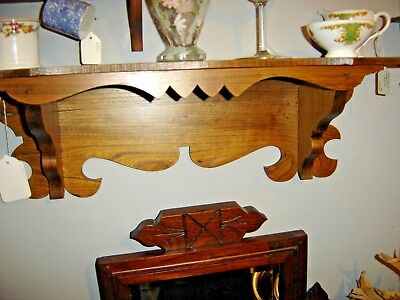 Antique Chestnut Clock Shelf with sawtooth design on the front. 8166 2