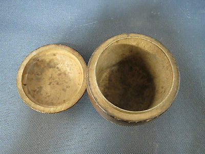 Antigua pequeña caja madera de boj forma de tonel vintage recuerde Jujurieux Ain