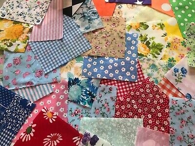 Fabric Square Scraps.30 Piece Offcuts.bundle Of Mixed  Polycotton Material 2