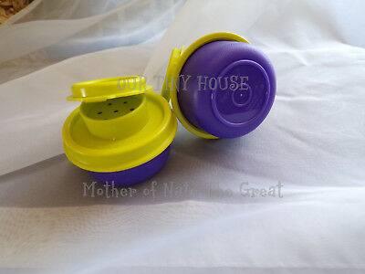 TUPPERWARE SMIDGET SALT AND PEPPER SHAKER SET Spice Small Mini PURPLE Smidgets 4
