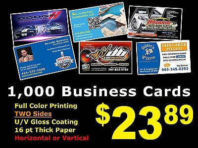 LOOK 1000 BUSINESS CARDS - Full Color UV Gloss Personalized Custom Must See!!! 2