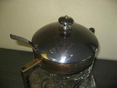 Original alte Bowle, Glas, Messing versilbert mit Bowlelöffel, 36 cm hoch 12