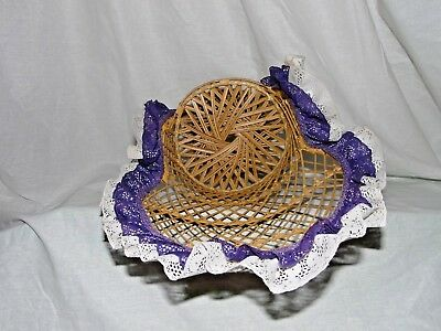 """Large 16"""" Peacock Style Wicker Rattan Chair Doll Furniture Purple & White Lace 8"""