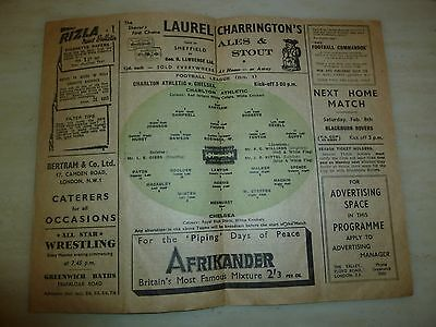 1946/47 Football Programme - CHARLTON ATHLETIC v CHELSEA - 1st February 2