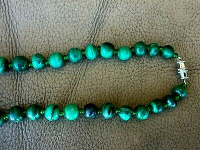 """Vintage Chinese Hand Carved Malachite Necklace 22.5""""L 4"""