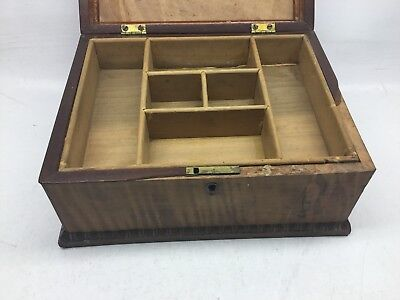 Antique Tiger Maple, Mahogany, And Satinwood Inlay Jewelry Box 2