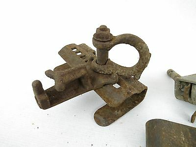 Lot of Antique Architectural Salvage Hooks Door Hardware Hinges casters wheels 7
