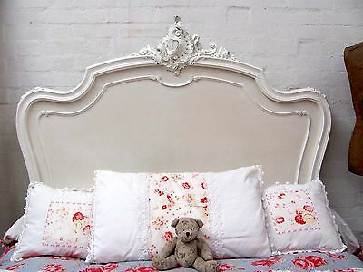 Stunning Antique French Double Rococo Crested Bed - C1920 3