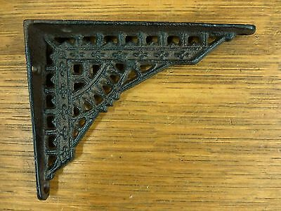 "2 SMALL BROWN ANTIQUE-STYLE 5"" CAST IRON SHELF BRACKETS garden rustic EASTLAKE"